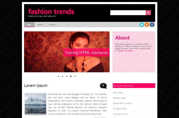 Fashion Pink Black Jquery Blogger Theme Template