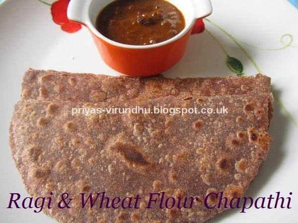 ragi & wheat flour chapathi/fingermillet and wheat flour chapathi