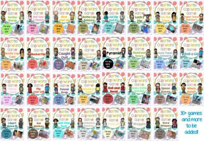 Bottle Cap Center Games for any Word List BUNDLE