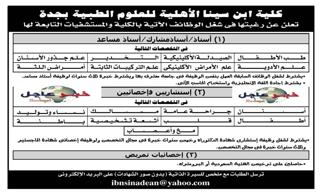 """وظائف للمؤهلات العليا """" كلية ابن سيناء الاهلية الاهلية للعلوم الطبية بجدة  """" السعودية اليوم"""