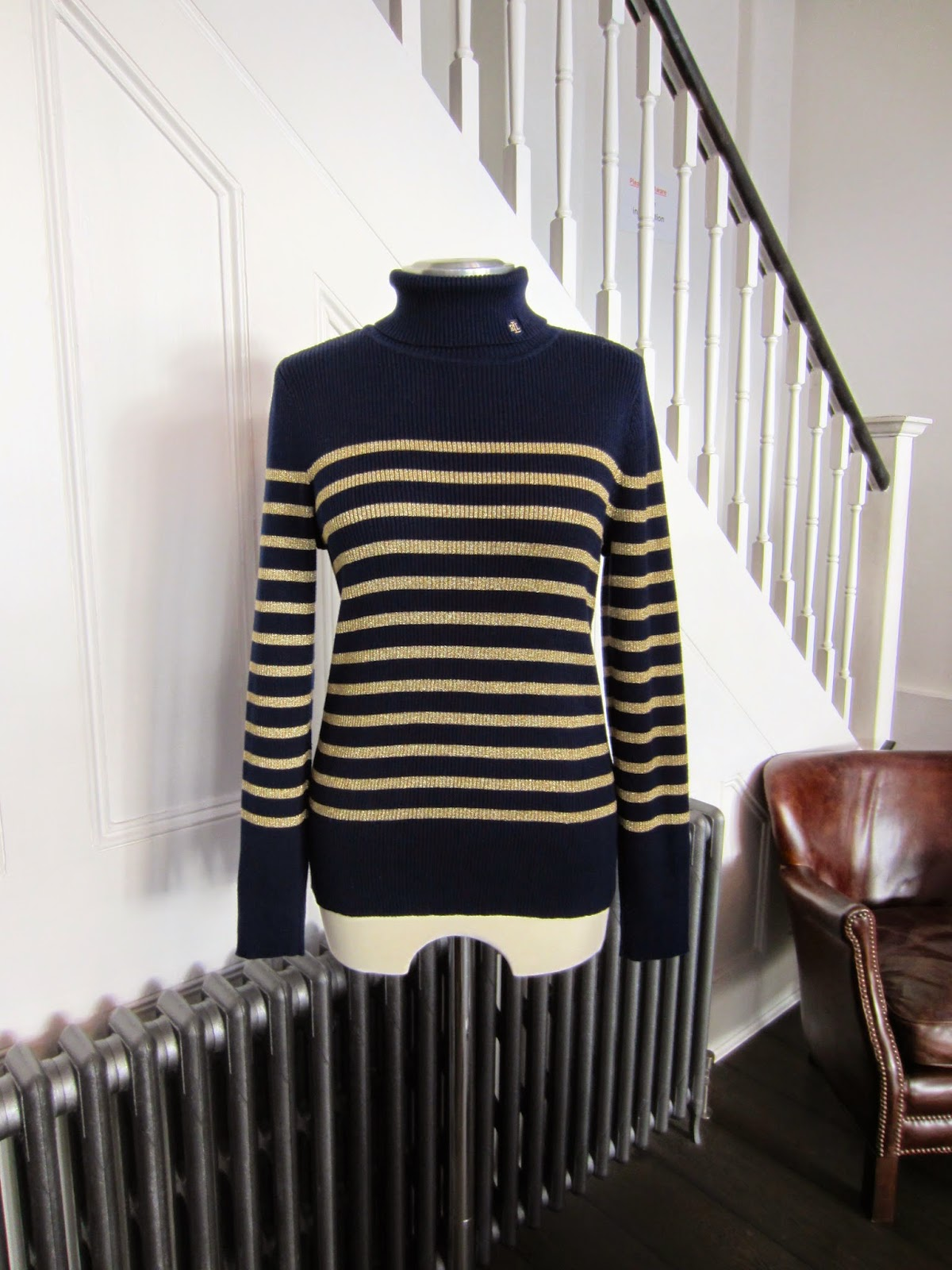 Lauren Ralph Lauren Navy Blue & Gold Striped Roll Neck Knit