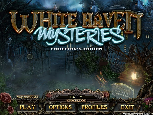 White Haven Mysteries Collector's Edition Main Menu