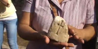 Bagian dari peti batu yang diduga menyimpan fragmen dari  kayu yang dipakai untuk menyalib Yesus. | Youtube