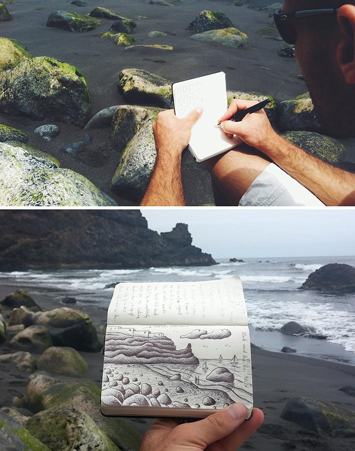 black sand beach - artist ben heine sketching