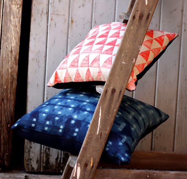 Hand printed cushions from Pomby Pomegranate Etsy Shop