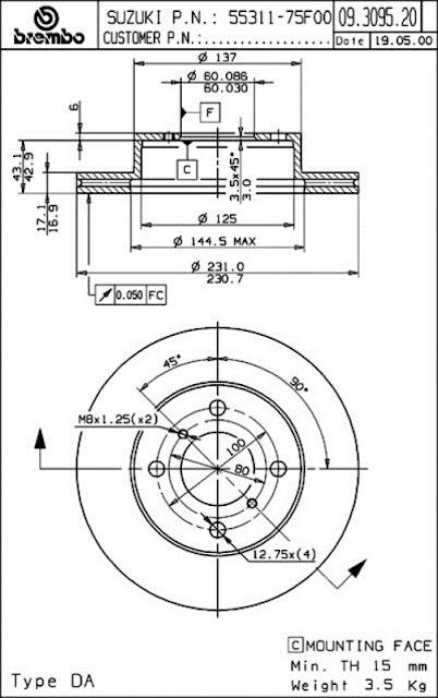 Brake Disc Suzuki KARIMUN (09.3095.20)