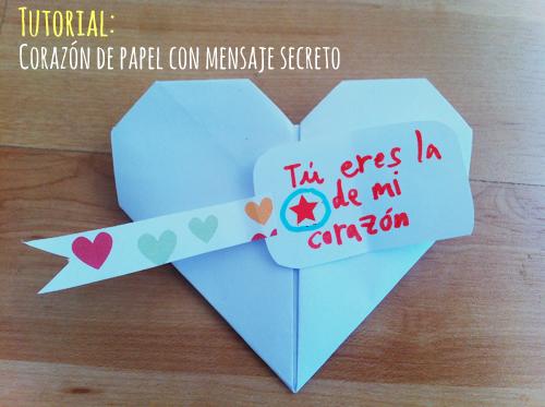 Corazón de papel con mensaje oculto