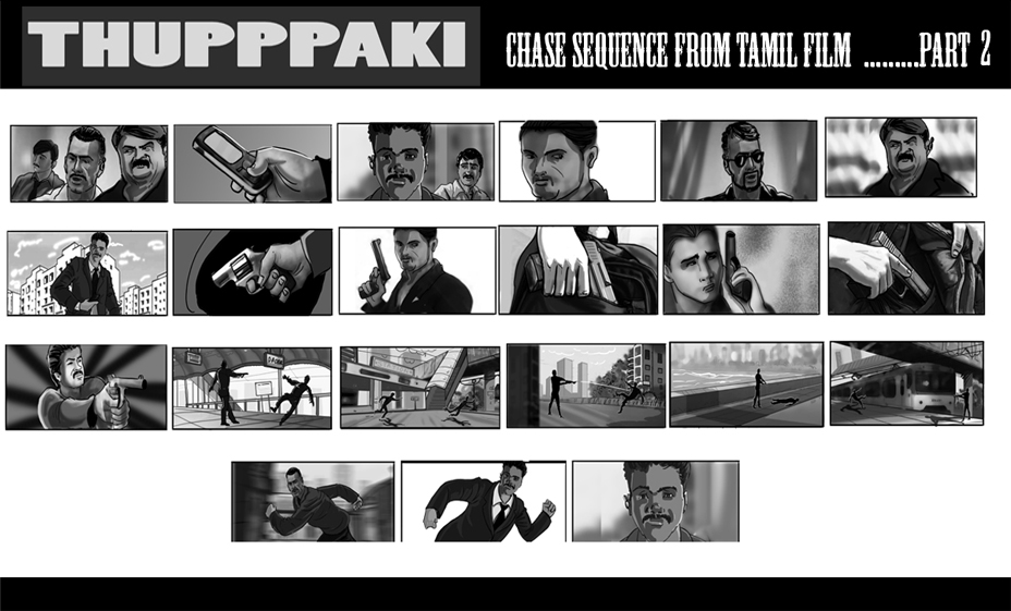 Anant Designs  U Thupppaki Storyboard For A Tamil Film