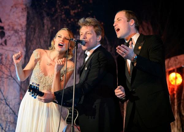 El trio de Taylor Swift, el príncipe Guillermo y Jon Bon Jovi