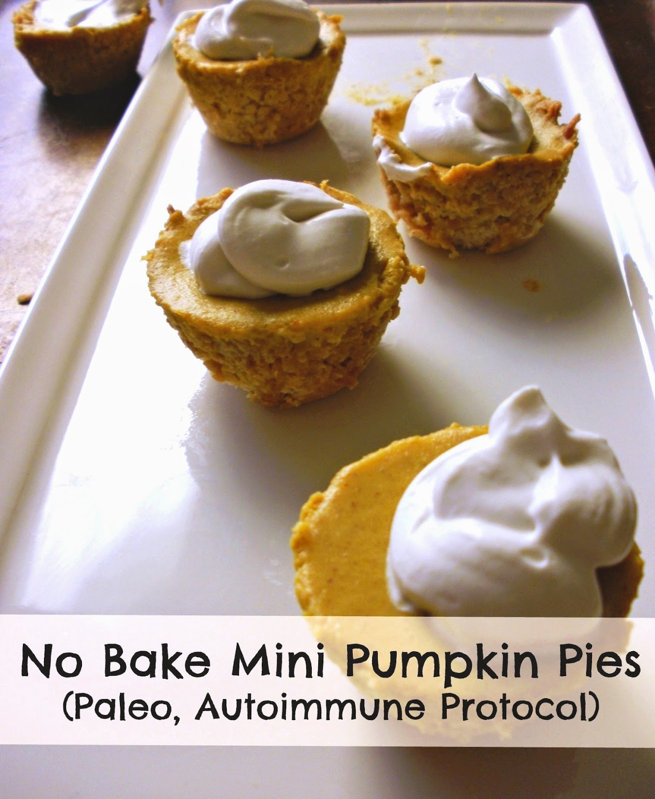 No Bake Mini AIP Pumpkin Pies with Coconut Whipped Cream (Paleo ...