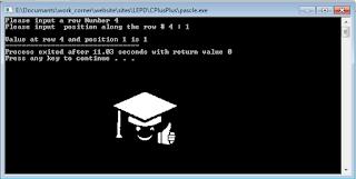 pascal triangle c++ program
