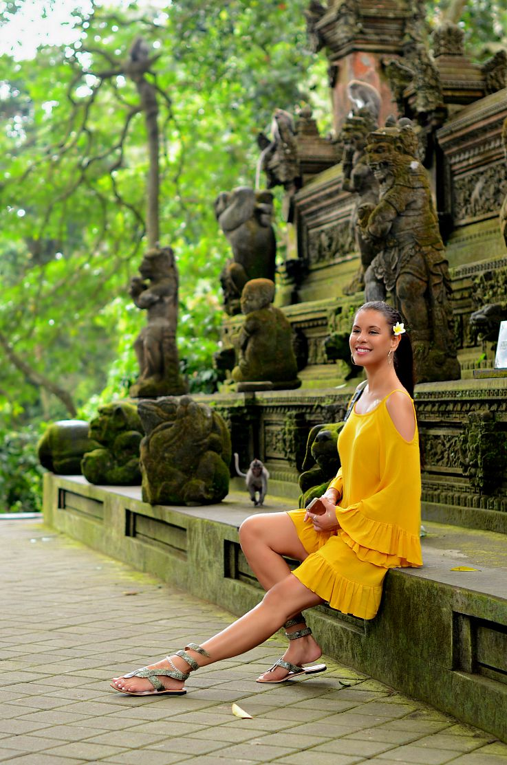 Monkey Forrest, yellow of the shoulder dress, Tamara Chloé, Bali, Indonesia, Ubud