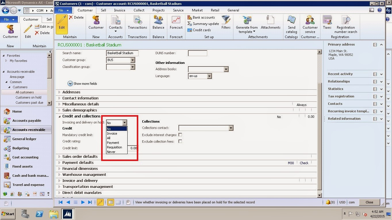 Dynamics AX Blog How To Stop Specific Customer For Further - Invoice delivery system