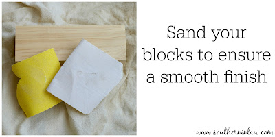 Sand Your Blocks to Ensure a Smooth Finish - DIY Holiday Decor Blocks Project