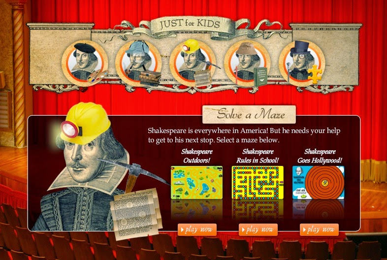 Shakespeare puzzles and games from www.shakespeareinamericanlife.org