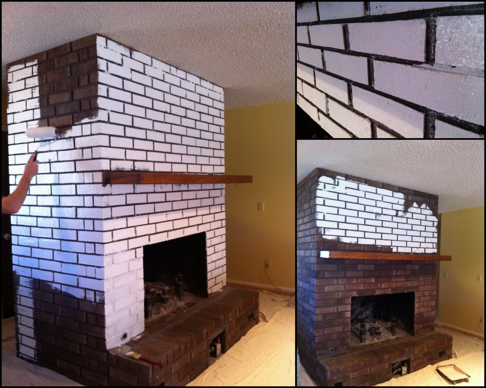 Before after painted brick fireplace creative outpour - Painted brick exterior pictures set ...