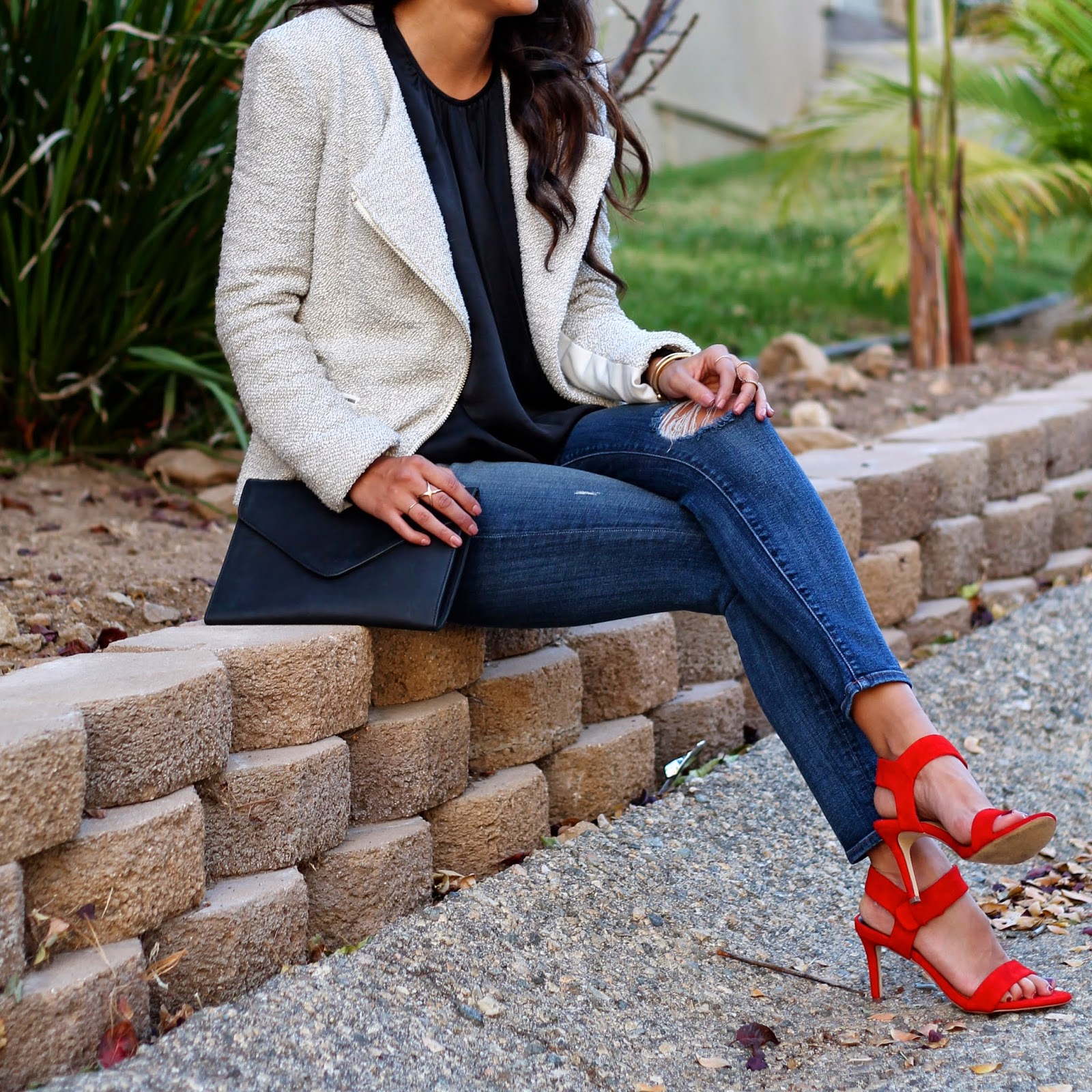 j brand, casual holiday party outfit, piperlime holiday, red heels, what to wear holiday