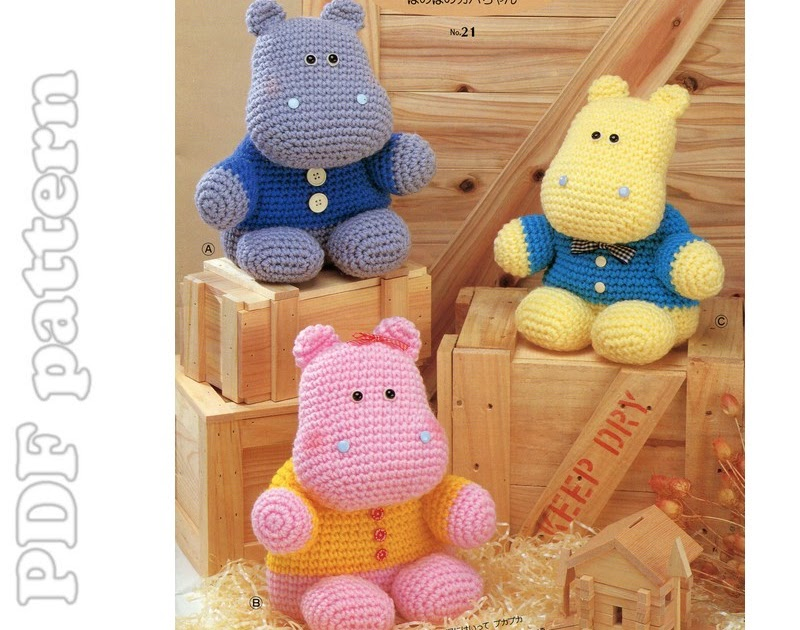 Ippopotamo Amigurumi Crochet : ENGLISH Amigurumi Hippo Plush Crochet Pattern PDF ...