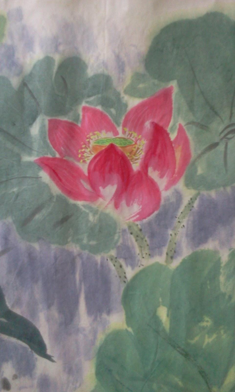 Chinese ink painting flowers colour my world with chinese ink chinese ink painting lotus flower kingfisher izmirmasajfo