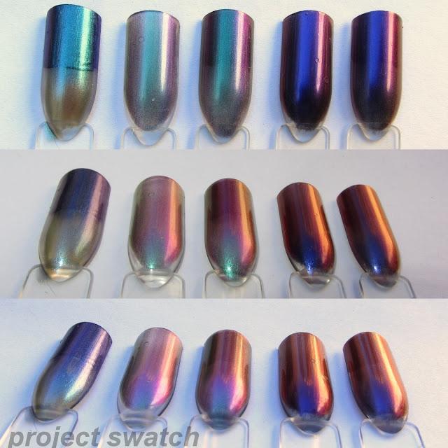 swatches - Model's Own Aqua Violet Beetle Juice, Hits Mari Moon Cutie Pie, Ludurana Show, Hits Mari Moon Dreamer, Ludurana Emocionante
