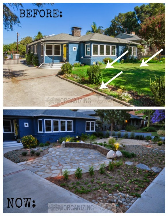 Before and Now - curb gone, grass gone, awkward plants gone :: OrganizingMadeFun.com