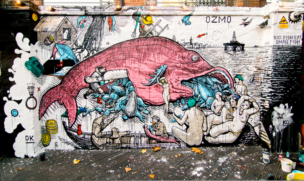Ozmo big fish eat small fish new mural in london for Big fish eat small fish