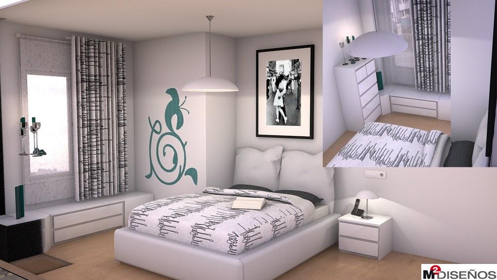 Dormitorio de matrimonio de estilo n rdico m dise os for Vinilos de pared juveniles