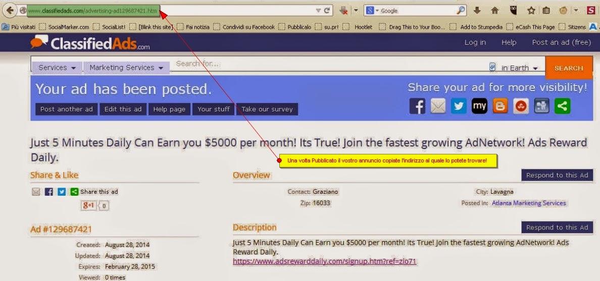 pubblicare l'annuncio giornaliero in Ads Reward Daily - copiare indirizzo di pubblicazione