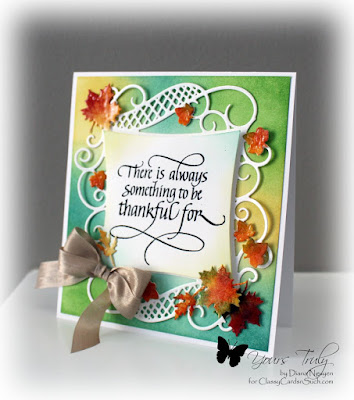 Diana Nguyen, Quietfire Design, Spellbinders, thank, leaves, decorative curved square