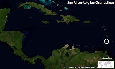 Mapa de San Vicente y las Granadinas en Centroamérica y El Caribe, Vista Aérea