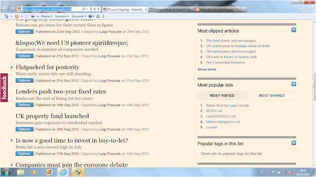 Retire Rich by Luigi Foscale on Financial Times is the most visited list