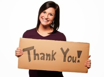 Language of Gratitude - woman girl holding sign with word thank you poster