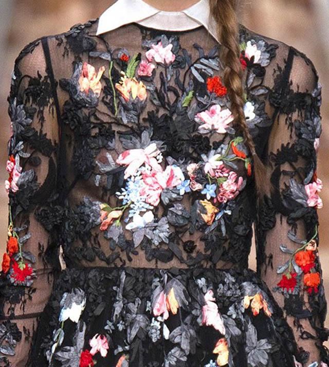 EVA RICCOBONO NO VALENTINO-outono inverno 2013-vestido floral-florido-de gala-vestido com gola peter pan