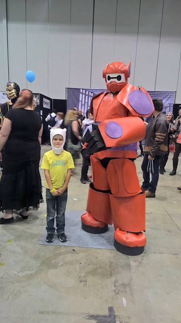 Corbin, dressed up in costume, with a character at Comic-Con