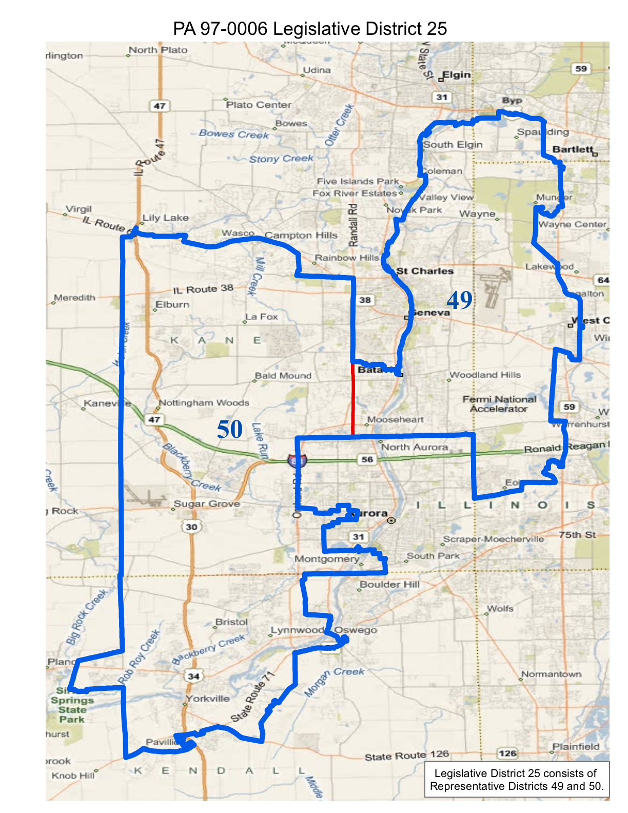 map of realigned illinois state legislative district 25 and state representative districts 49 and 50