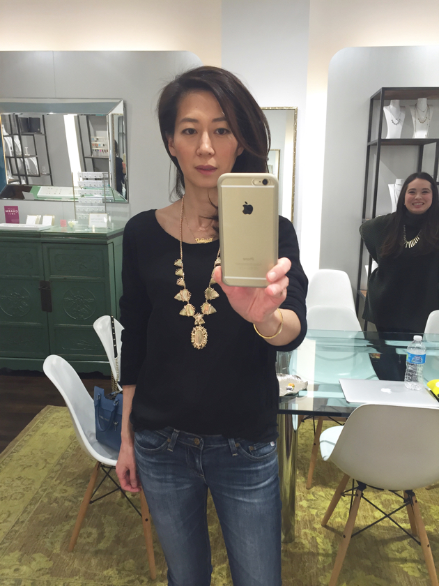Wearing Mother-of-Pearl Havana Statement Necklace, Kendra Scott