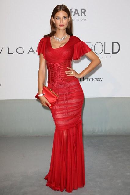 Bianca Balti in a red Dolce&Gabbana gown at Cannes, amfAR Gala 2014