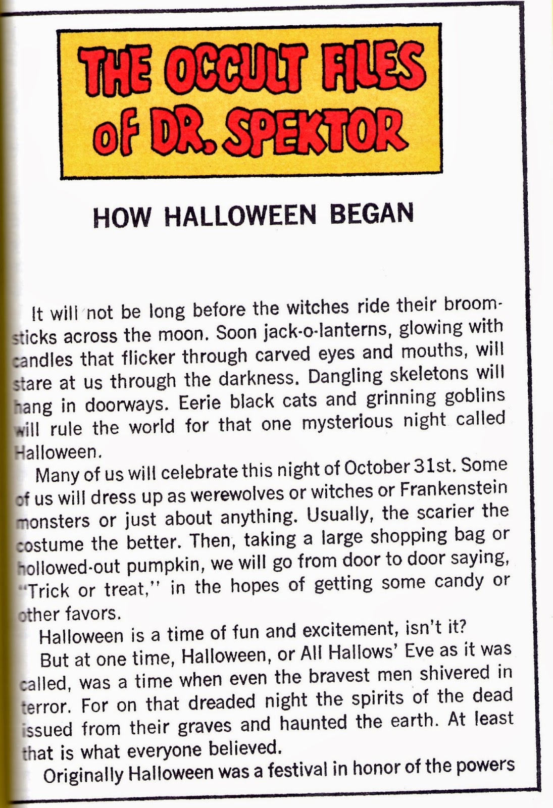 dr spektor tells us how halloween began