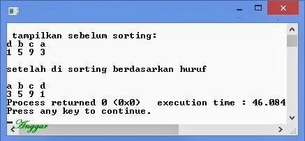 Program untuk mengurutkan sepasang data yang dimasukkan berdasarkan abjad/huruf.