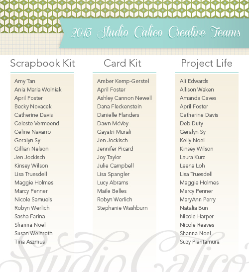 2013 Studio Calico Creative Teams - List of Names for Scrapbook Kit, Card Kit and Project Life Kit