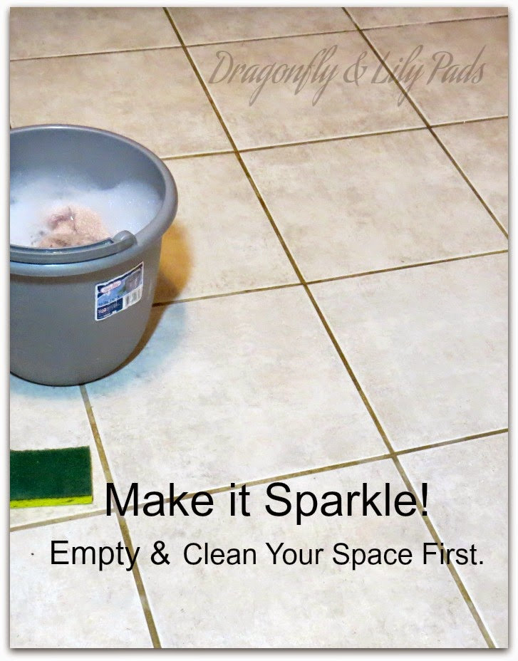 A bucket of soapy water, Ceramic tile, Sponge, Clean, Sparkling floor.