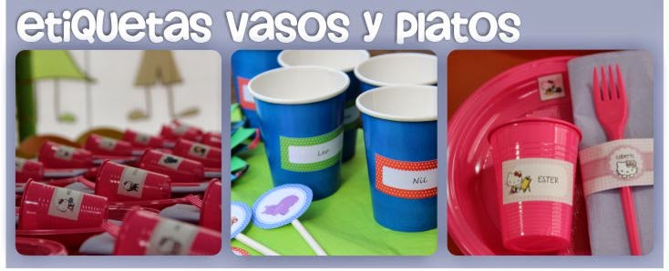 etiquetas vasos y platos