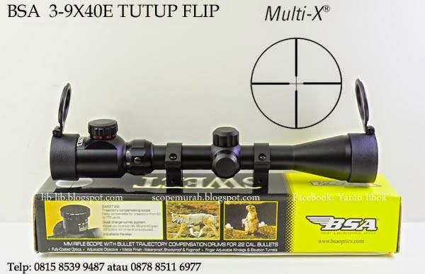 jual scope BSA 3-9X40 E Tutup flip-up  murah