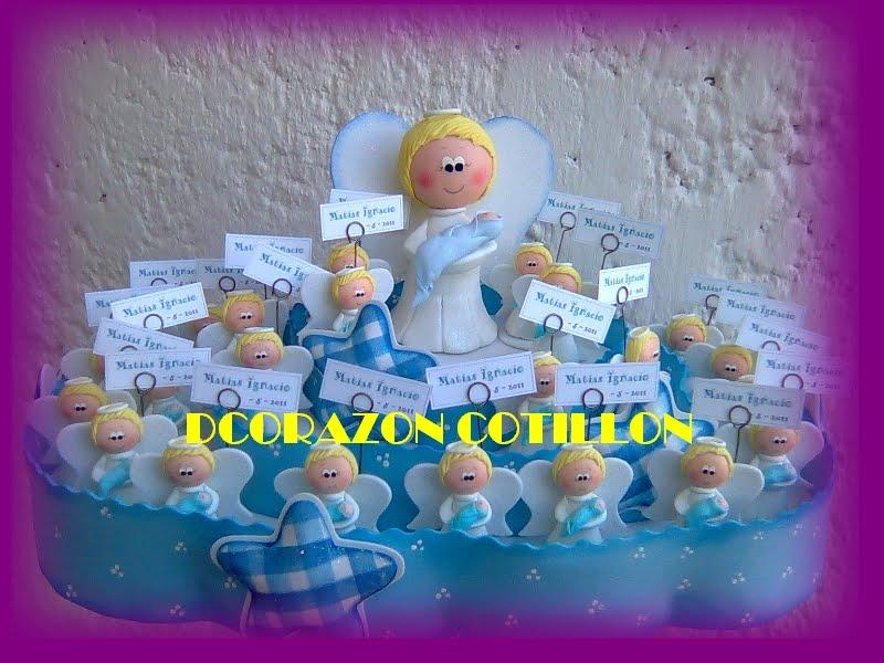 ... COTILLON: ANGELITOS EN PORCELANA FRIA Y PORTA SOUVENIRS EN GOMA EVA