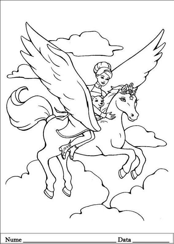 Planse de colorat cu Barbie Pegasus - cal cu aripi, ursulet