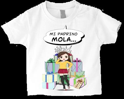 "Camiseta manga corta para bebé ""Mi padrino mola (niña)"" color blanco"