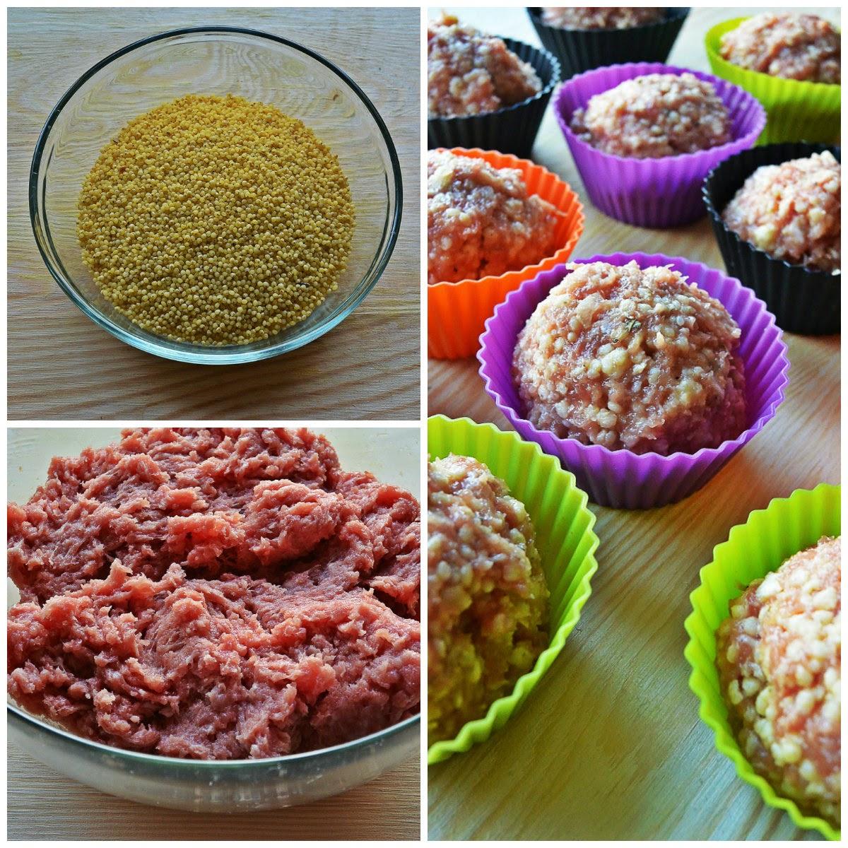 Pieczone klopsiki z kaszą jaglaną - składniki