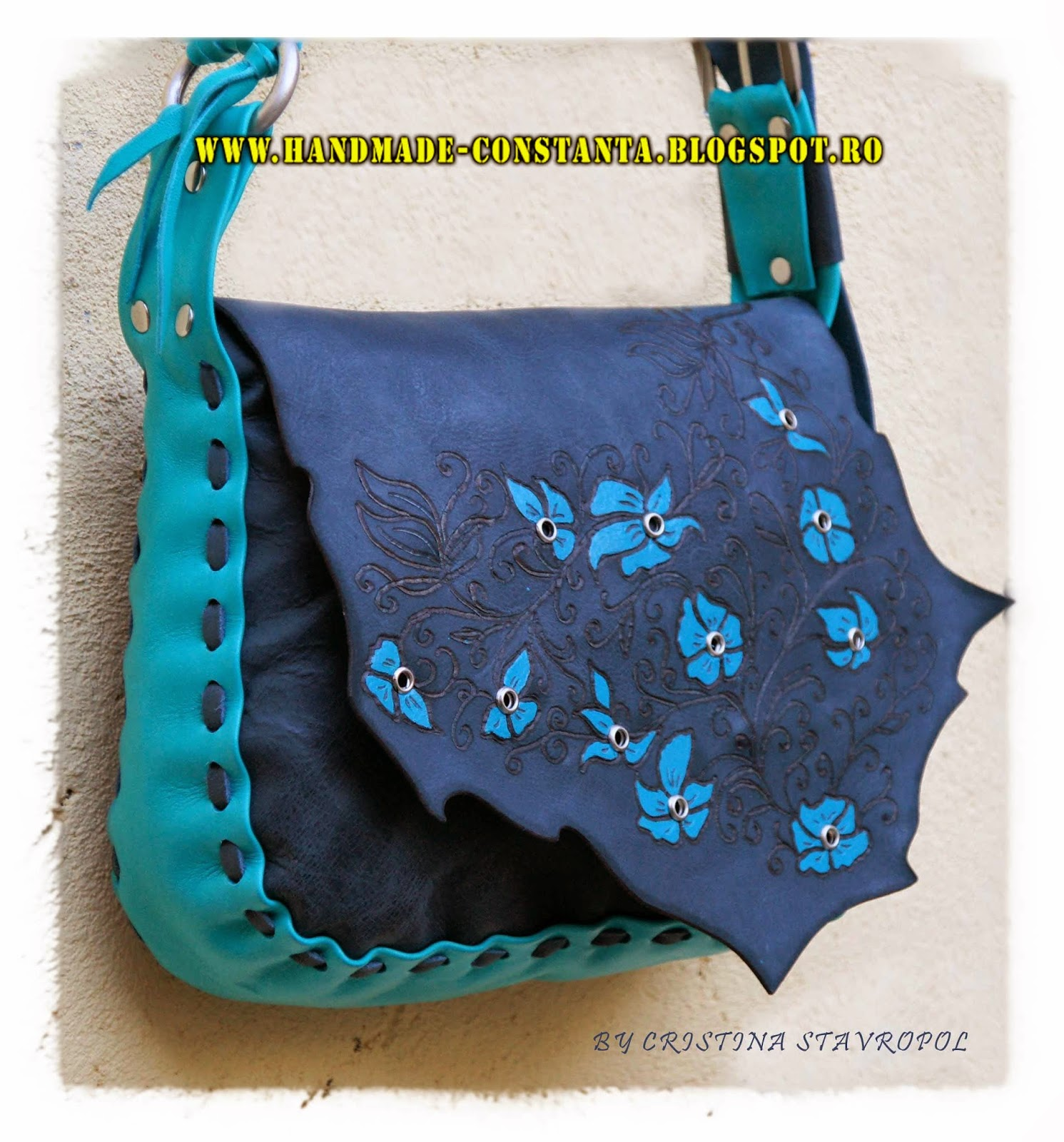 Gray bag - turquoise leather pyrography manual.
