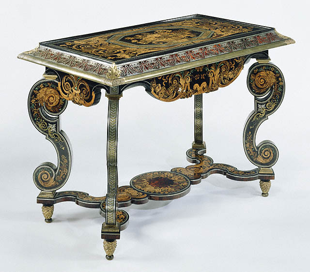Table, Attributed to André-Charles Boulle, about 1680, Oak veneered with ebony, tortoise shell, horn, pewter, brass, ivory, and various wood; gilt bronze mounts