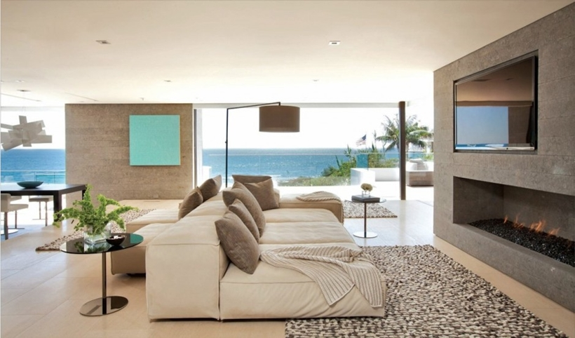 Modern furniture in Romantic home above the ocean, California